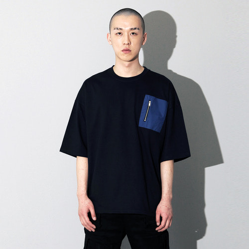 OVU-021 ZIPPER POCKET T SHIRT NAVY