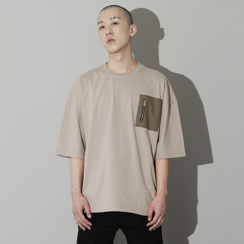 OVU-023 ZIPPER POCKET T SHIRT BEIGE
