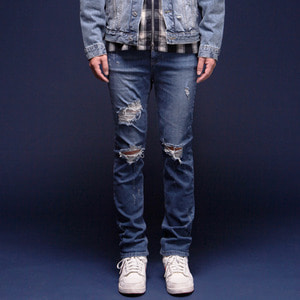 DESTROYED HAND WASHING DENIM INDIGO