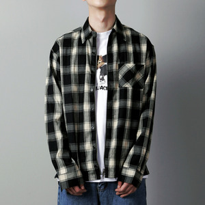 SL-004 ZIPPER ZIPUP CHECK SHIRT BLACK